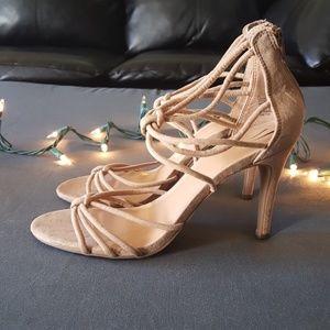 NWOT! Tan suede strappy heels